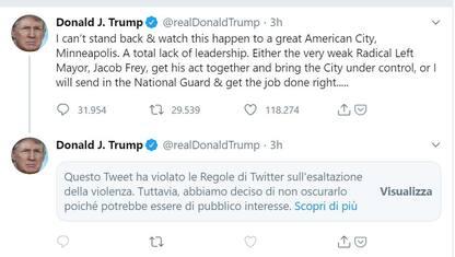 """Twitter censura Trump: un suo tweet """"esalta la violenza"""""""