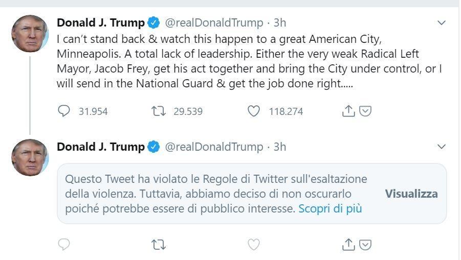 Il tweet con il messaggio di censura