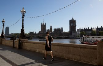 LONDON, ENGLAND - MAY 29: A jogger walks along Southbank by the River Thames on May 29, 2020 in London. The British government continues to ease the coronavirus lockdown by announcing schools will open to reception year pupils plus years one and six from June 1st. Open-air markets and car showrooms can also open from the same date.  (Photo by Jo Hale/Getty Images)