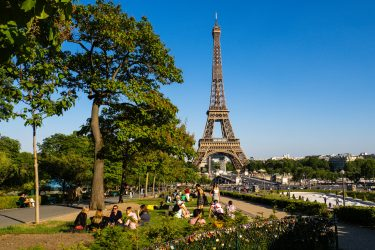 PARIS, FRANCE - MAY 16: People gather on the lawn and are having a picnic at the Trocadero garden, in front of the Eiffel Tower, on May 16, 2020 in Paris, France. The Coronavirus (COVID-19) pandemic has spread to many countries across the world, claiming over 280,000 lives and infecting over 4 million people. (Photo by Edward Berthelot/Getty Images)