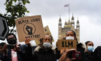 epa08469558 Thousands of people defy the coronavirus lockdown order to take part in a 'Black Lives Matter' (BLM) protest at Parliament Square in London, Britain, 06 June 2020. The anti-racism demonstration was held to condemn the killing of George Floyd, a 46-year-old African-American man who died on 25 May after being detained by police officers in Minneapolis (Minnesota), USA, and to express solidarity with the BLM-led protests currently taking place throughout the US. Video footage recorded by bystanders appeared to show police officer Derek Chauvin forcefully kneeling on Floyd's neck for several minutes while the latter pleaded that he couldn't breathe and three other officers passively looked on. Outrage over this new alleged killing of an unarmed black man at the hands of US police has spread across the country and abroad, giving rise to many spontaneous protests around the globe and some riots in major American cities.  EPA/ANDY RAIN