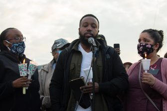 TACOMA, WA - JUNE 03: Matthew Ellis, holing a Bible, pauses while speaking during a vigil for his brother, Manuel Ellis, a black man whose March death while in Tacoma Police custody was recently found to be a homicide, according to the Pierce County Medical Examiners Office, near the site of his death on June 3, 2020 in Tacoma, Washington. Protests and other events sparked by the death of George Floyd have continued in the Tacoma area after the Medical Examiner found that the cause of death in the Manuel Ellis case was caused by respiratory arrest due to hypoxia due to physical restraint. (Photo by David Ryder/Getty Images)