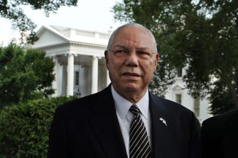 epa02830821 Former US Secretary of State General Colin Powell walks outside the White House following a meeting with business leaders and Obama administration officials on ways to improve education and the US workforce, in Washington DC, USA, 18 July 2011.  EPA/MICHAEL REYNOLDS