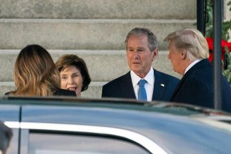 US President Donald J. Trump (R) and his wife, Melania (L), visit former US President George W. Bush (C-R) and his wife Laura (C-L), who are staying across the street from the White House in the Blair House while attending funeral services for former US President George H.W. Bush in Washington, DC, USA, 04 December 2018. Former US President George H.W. Bush died at the age of 94 on 30 November 2018; he was the 41st President of the United States (1989-1993).  ANSA/JIM LO SCALZO