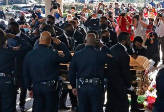 epa08474932 The casket carrying the body of George Floyd is taken into The Fountain of Praise Church before the funeral service for George Floyd in Houston, Texas, USA, 09 June 2020. A bystander's video posted online on 25 May, appeared to show George Floyd, 46, pleading with arresting officers that he couldn't breathe as an officer knelt on his neck. The unarmed Black man later died in police custody and all four officers involved in the arrest have been charged and arrested.  EPA/LARRY W. SMITH