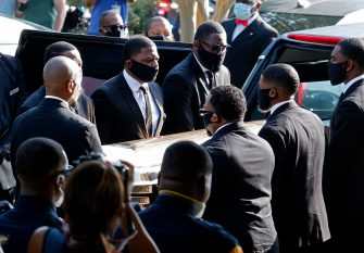 epa08474930 The casket carrying the body of George Floyd is taken into The Fountain of Praise Church before the funeral service for George Floyd in Houston, Texas, USA, 09 June 2020. A bystander's video posted online on 25 May, appeared to show George Floyd, 46, pleading with arresting officers that he couldn't breathe as an officer knelt on his neck. The unarmed Black man later died in police custody and all four officers involved in the arrest have been charged and arrested.  EPA/LARRY W. SMITH