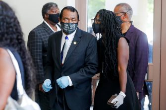 epa08475202 Congressman Al Green, TX-9th, enters during the funeral for George Floyd at The Fountain of Praise church in Houston, Texas, USA, 09 June 2020. A bystander's video posted online on 25 May, appeared to show George Floyd, 46, pleading with arresting officers that he couldn't breathe as an officer knelt on his neck. The unarmed Black man later died in police custody and all four officers involved in the arrest have been charged and arrested.  EPA/Godofredo A. Vasquez / POOL