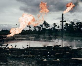 Natural Gas Flaring Site in Ughelli, Niger Delta, Nigeria.