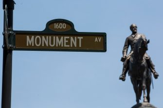 RICHMOND, VA - JUNE 04:  A statue of Confederate General Robert E. Lee is pictured on June 4, 2020 in Richmond, Virginia. Virginia Gov. Ralph Northam (D) and Richmond Mayor Levar Stoney announced plans to take down the statue.  (Photo by Zach Gibson/Getty Images)