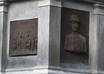 JACKSONVILLE, FL - AUGUST 20:  Plaques in honor of Confederates are seen on the base of a monument in Hemming Park in the midst of a national controversy over whether Confederate symbols should be removed from public display on August 20, 2017 in Jacksonville, Florida. The issue is at the heart of a debate about race in America brought to the fore in the recent protest in Charlottesville, Virginia which turned deadly as white-supremacists clashed with counter-demonstrators over a Confederate statue.  (Photo by Joe Raedle/Getty Images)