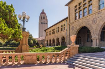 PALO ALTO, CA - SEPTEMBER 30:  A general view of the Stanford University campus showing the arches of the Main Quadrangle buildings and Hoover Tower before a NCAA Pac-12 football game between the Stanford Cardinal and the Arizona State University Sun Devils played on September 30, 2017 at Stanford Stadium in Palo Alto, California.  (Photo by David Madison/Getty Images)