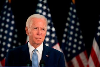 Presumptive Democratic presidential nominee and former Vice President Joe Biden speaks at Delaware State Universitys student center in Dover, Delaware, on June 5, 2020. (Photo by JIM WATSON / AFP) (Photo by JIM WATSON/AFP via Getty Images)