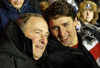 OTTAWA, ON - DECEMBER 16: (L-R) Gary Bettman commissioner of the NHL chats with Justin Trudeau, Prime Minister of Canada, during the 2017 Scotiabank NHL100 Classic between the Ottawa Senators and the Montreal Canadiens at Lansdowne Park on December 16, 2017 in Ottawa, Canada.  (Photo by Jana Chytilova/Getty Images/Freestyle Photo)