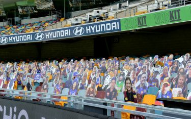BRISBANE, AUSTRALIA - JUNE 13: Cardboard cut outs of fans are seen during the round 2 AFL match between the Brisbane Lions and the Fremantle Dockers at The Gabba on June 13, 2020 in Brisbane, Australia. (Photo by Bradley Kanaris/Getty Images)