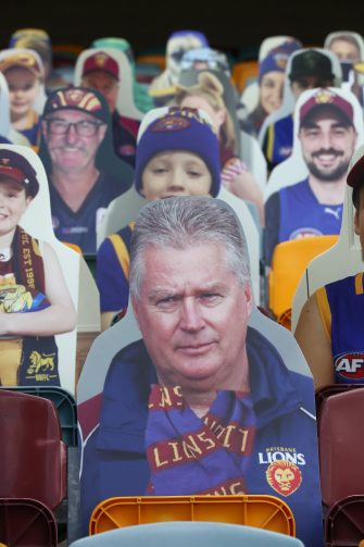 BRISBANE, AUSTRALIA - JUNE 13: A cardboard cutout of Lions CEO Greg Swann is seen before the round 2 AFL match between the Brisbane Lions and the Fremantle Dockers at The Gabba on June 13, 2020 in Brisbane, Australia. (Photo by Jono Searle/AFL Photos/Getty Images)