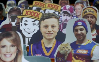 BRISBANE, AUSTRALIA - JUNE 13: Cardboard cut outs of fans are seen before the round 2 AFL match between the Brisbane Lions and the Fremantle Dockers at The Gabba on June 13, 2020 in Brisbane, Australia. (Photo by Jono Searle/AFL Photos/Getty Images)