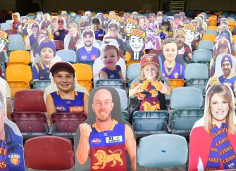 epa08481920 Cardboard cutouts of Brisbane Lions supporters are placed on empty seats during Round 2 of the Australian Football League (AFL) match between the Brisbane Lions and the Fremantle Dockers at The Gabba in Brisbane, Australia, 13 June 2020. AFL games are currently being held behind closed doors amid the coronavirus pandemic and restrictions on mass gatherings.  EPA/DARREN ENGLAND EDITORIAL USE ONLY AUSTRALIA AND NEW ZEALAND OUT