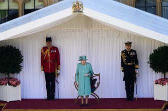 The Queen views a military ceremony in the Quadrangle of Windsor Castle to mark Her Majesty's Official Birthday on Saturday 13th June, 2020.  The ceremony will be executed by soldiers from the 1st Battalion Welsh Guards, who are currently on Guard at Windsor Castle, and feature music performed by a Band of the Household Division.   Camera Press Rota