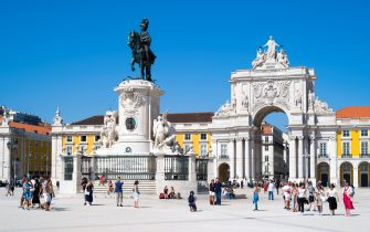 LISBON, PORTUGAL: Tourists photographing bronze statue of Jose I on horseback - Portugal's king in Praca do Comercio -Terreiro do Paço, in Lisbon, Portugal.  (Photo by Tim Graham/Getty Images)