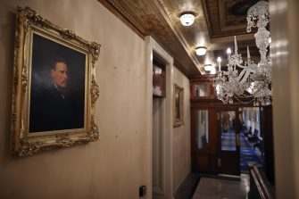 WASHINGTON, DC - JUNE 18: Empty spaces remain on the wall where portraits of former Speakers of the House of Representatives who were also Confederates were taken down at the U.S. Capitol June 18, 2020 in Washington, DC. The portraits of James Orr, Howell Cobb, Robert Hunter and Charles Crisp were removed on the orders of Speaker Nancy Pelosi (D-CA) ahead of the Juneteenth holiday and in the wake of nationwide protests against police brutality and systemic racism. (Photo by Chip Somodevilla/Getty Images)