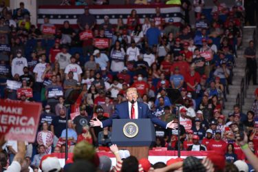 epa08499468 US President Donald J. Trump speaks during a rally inside the Bank of Oklahoma Center in Tulsa, Oklahoma, USA, 20 June 2020. The campaign rally is the first since the COVID-19 pandemic locked most of the country down in March 2020.  EPA/ALBERT HALIM