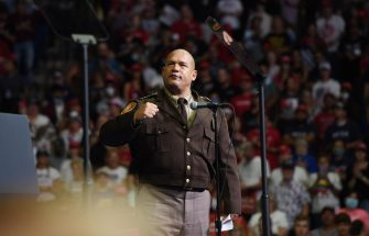 epa08499463 Tulsa County Sheriff Vic Regalado speaks before US President Donald J. Trump arrives during a rally inside the Bank of Oklahoma Center in Tulsa, Oklahoma, USA, 20 June 2020. The campaign rally is the first since the COVID-19 pandemic locked most of the country down in March 2020.  EPA/ALBERT HALIM