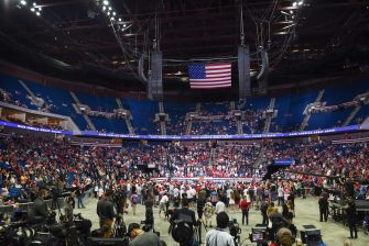 epa08499462 US President Donald J. Trump speaks during a rally inside the Bank of Oklahoma Center in Tulsa, Oklahoma, USA, 20 June 2020. The campaign rally is the first since the COVID-19 pandemic locked most of the country down in March 2020.  EPA/ALBERT HALIM