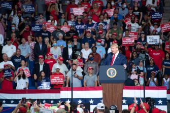 epa08499458 US President Donald J. Trump speaks during a rally inside the Bank of Oklahoma Center in Tulsa, Oklahoma, USA, 20 June 2020. The campaign rally is the first since the COVID-19 pandemic locked most of the country down in March 2020.  EPA/ALBERT HALIM