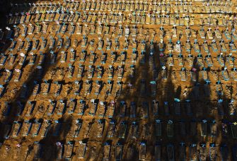 Aerial view showing graves in the Nossa Senhora Aparecida cemetery in Manaus on June 21, 2020. - The novel coronavirus has killed at least 464,423 people worldwide since the outbreak began in China last December, being Brazil Latin America's worsthit country with 49,976 deaths from 1,067,579 cases. (Photo by MICHAEL DANTAS / AFP)