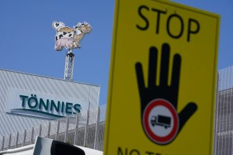 GUETERSLOH, GERMANY - JUNE 23: The Toennies meat packaging plant stands temporarily closed following a Covid-19 outbreak among workers there during the coronavirus pandemic in the town of Rheda-Wiedenbrueck on June 23, 2020 near Guetersloh, Germany. State authorities announced today they are placing the entire Guetersloh region into semi-lockdown following confirmed Covid-19 infections among over 1,500 employees of the plant. The Bundeswehr, the German armed forces, has stepped in to help test people at the approximately 250 houses and apartment complexes where Toennies employees, many of whom come from Romania, Bulgaria and Poland, live throughout the Guetersloh region. (Photo by Sean Gallup/Getty Images)
