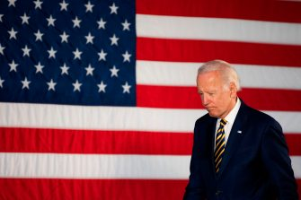 Democratic presidential candidate Joe Biden departs after speaking about reopening the country during a speech in Darby, Pennsylvania, on June 17, 2020. (Photo by JIM WATSON / AFP) (Photo by JIM WATSON/AFP via Getty Images)