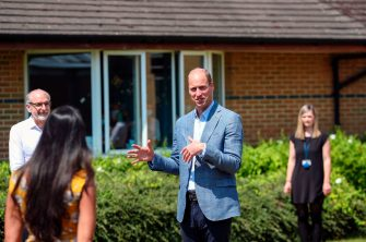 Britain's Prince William, Duke of Cambridge adheres to the Government's social distancing guidelines as he talks to staff at Oxford Vaccine Group's facility at Churchill Hospital in Oxford, west of London on June 24, 2020, during a visit to learn more about the group's work to establish a viable vaccine against the novel coronavirus COVID-19. (Photo by Steve Parsons / POOL / AFP) (Photo by STEVE PARSONS/POOL/AFP via Getty Images)