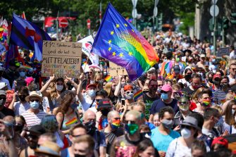 epa08511633 People take part in the 'Pride Berlin' demonstration in Berlin, Germany, 27 June  2020. A large crowd marched under the motto 'Save our Community, Save our Pride' in solidarity with the hardships of the German capital's LGBTIQ community but also in Poland, Russia, Ukraine. Berlin's world famous pride parade, Christopher Street Day (CSD) which was scheduled to take place end of July was cancelled this year due to the Coronavirus pandemic.  EPA/OMER MESSINGER
