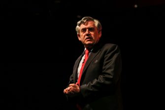 Image ©Licensed to i-Images Picture Agency. 08/06/2016. Gateshead, United Kingdom. Gordon Brown speaks at a Labour In For Britain Rally at the Sage, Gateshead. Picture by Tom Banks / i-Images Gordon Brown in campagna elettoraleLaPresse  -- Only Italy