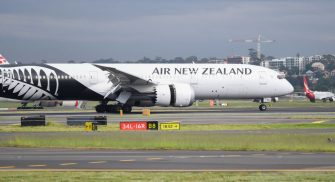 An Air New Zealand Boeing 787 jet lands at Kingsford Smith International on April 30, 2020 in Sydney, Australia.