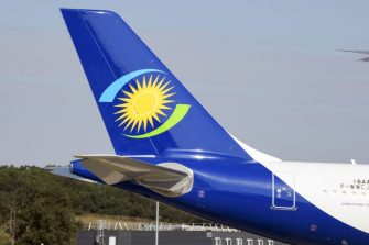 A picture taken on September 27, 2019, at the Airbus delivery center in Colomiers, southwestern France, shows the RwandAir airline logo based in Rwanda. (Photo by PASCAL PAVANI / AFP) (Photo by PASCAL PAVANI/AFP via Getty Images)