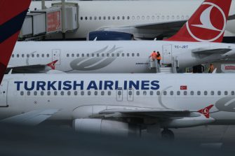 SCHIPHOL, NETHERLANDS - MARCH 09: Ground staffs are seen on an aircraft operated by Turkish Airlines at Amsterdam Airport Schiphol on March 9, 2020 in Schiphol, Netherlands.  (Photo by Yuriko Nakao/Getty Images)