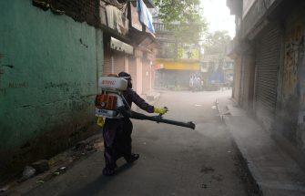 A municipal worker sprays disinfectant in an alley where a patient had tested positive for the coronavirus during a government-imposed nationwide lockdown as a preventive measure against the spread of the COVID-19 coronavirus, in Siliguri on May 18, 2020. (Photo by DIPTENDU DUTTA / AFP) (Photo by DIPTENDU DUTTA/AFP via Getty Images)