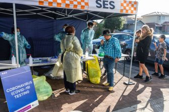 MELBOURNE, AUSTRALIA - JUNE 28: A general view of a pop-up Covid-19 testing tent during a COVID-19 testing blitz in the suburb of Broadmeadows on June 28, 2020 in Melbourne, Australia. Victoria's confirmed COVID-19 infection numbers continue to rise, with 49 new coronavirus cases recorded overnight. Health authorities are continuing on a testing blitz in Melbourne suburbs that have been identified as community transmission hotspots for coronavirus. Restrictions in Victoria have been tightened in response to the spike in new cases across the state with premier Daniel Andrews extending the current state of emergency for at least four weeks to allow police the power to enforce social distancing rules. (Photo by Asanka Ratnayake/Getty Images)