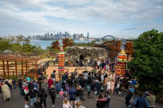 SYDNEY, AUSTRALIA - JUNE 28: A general view is seen during the opening of the African Savannah precinct at Taronga Zoo on June 28, 2020 in Sydney, Australia. The new African Savannah precinct features roaming lions, fennec foxes, meerkats, giraffe and zebra. It is the first time lions have been on display at Taronga Zoo since 2015. (Photo by Jenny Evans/Getty Images)