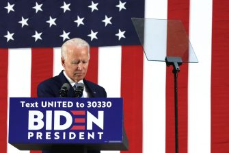 WILMINGTON, DELAWARE - JUNE 30:   Democratic presidential candidate, former Vice President Joe Biden pauses during a campaign event June 30, 2020 at Alexis I. Dupont High School in Wilmington, Delaware. Biden discussed the Trump Administrationâ  s handling of the COVID-19 pandemic.  (Photo by Alex Wong/Getty Images)