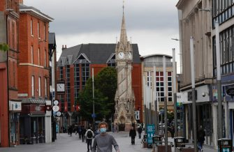 LEICESTER, ENGLAND - JULY 01: A man walks through the city centre on July 01, 2020 in Leicester, England. Ten per cent of all the recent UKs Covid-19 deaths occurred in Leicester, which became the first British city to be put into regional lockdown on Tuesday night. (Photo by Darren Staples/Getty Images)
