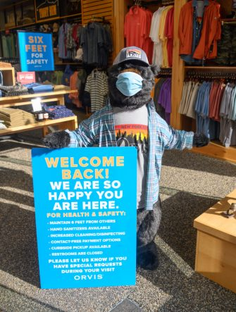 NEW YORK, NEW YORK - JUNE 30: A welcome back sign is seen inside Orvis store in midtown as New York City moves into Phase 2 of re-opening following restrictions imposed to curb the coronavirus pandemic on June 30, 2020. Phase 2 permits the reopening of offices, in-store retail, outdoor dining, barbers and beauty parlors and numerous other businesses. Phase 2 is the second of four phased stages designated by the state. (Photo by Noam Galai/Getty Images)