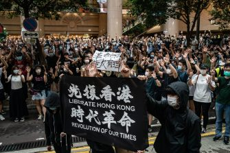 HONG KONG, CHINA - JULY 01: Demonstrators take part in a protest against the new national security law on July 1, 2020 in Hong Kong, China. Hong Kong marks the 23rd anniversary of its handover to China on July 1 after Beijing imposed the new national security law. (Photo by Anthony Kwan/Getty Images)