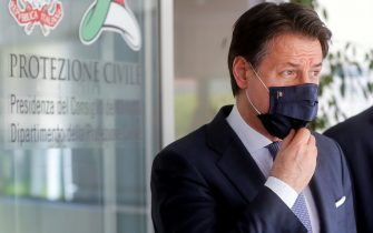 Italian Prime Minister Giuseppe Conte, wearing face mask, upon his arrival at the headquarters of Civil Protection to attend at the thanksgiving ceremony for the medical staff of the Civil Protection task-force, Rome, Italy, 22 June 2020. ANSA/RICCARDO ANTIMIANI