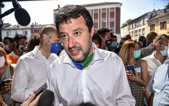 League party leader Matteo Salvini during his visit to Codogno, northern Italy, 28 June 2020. Codogno is the town where the first Italian case of Covid-19 was discovered last 21 February. ANSA/ MATTEO CORNER