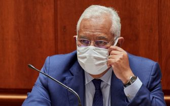 LISBON, PORTUGAL - JUNE 17: Portuguese Prime Minister Antonio Costa wears protective mask at a plenary session of the Assembleia da Republica (Portuguese Parliament) during which approval of the country's Supplementary Budget for 2020 is being debated on June 17, 2020 in Lisbon, Portugal. The Government presented on June 09 the proposal for a Supplementary Budget, which foresees a deficit of 6.3 percent and a ratio of public debt to Gross Domestic Product (GDP) of 134.4 percent, as a response to the crisis caused by COVID-19 Coronavirus pandemic. (Photo by Horacio Villalobos#Corbis/Corbis via Getty Images)