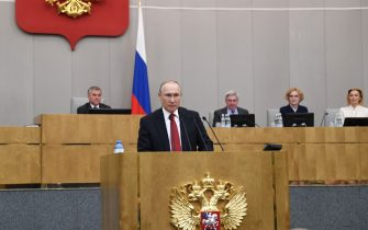 Russian President Vladimir Putin addresses lawmakers debating on the second reading of the constitutional reform bill during a session of the State Duma, Russia's lower house of parliament, in Moscow on March 10, 2020. (Photo by Alexey NIKOLSKY / SPUTNIK / AFP) (Photo by ALEXEY NIKOLSKY/SPUTNIK/AFP via Getty Images)
