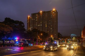 MELBOURNE, AUSTRALIA - JULY 04: A General view of the housing commission flats in the suburb of Flemington, where a coronavirus outbreak has been recorded, on July 04, 2020 in Melbourne, Australia. Lockdowns across Melbourne are in effect for residents of suburbs identified as COVID-19 hotspots following a spike in new coronavirus cases through community transmission. Residents of the 10 Melbourne hotspot postcodes are only able to leave home for exercise or work, to buy essential items including food or to access childcare and healthcare. Businesses and facilities in these lockdown areas are also restricted and cafes and restaurants can only open for takeaway and delivery. The restrictions will remain in place until at least 29 July.  (Photo by Asanka Ratnayake/Getty Images)