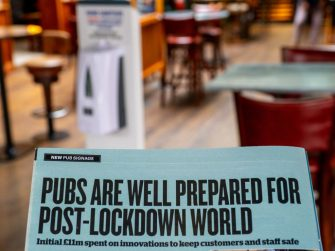 LONDON, ENGLAND - JULY 04: The Mossy Well, a J D Wetherspoon pub reopen for business in Muswell Hill on July 4, 2020 in London, United Kingdom. The UK Government announced that Pubs, Hotels and Restaurants can open from Saturday, July 4th providing they follow guidelines on social distancing and sanitising. (Photo by Peter Dench/Getty Images)